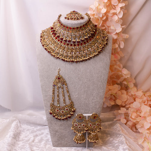 Tahera Bridal Double necklace set - Dark Red