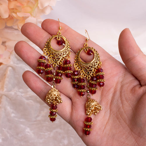 Eesha Crystal Drop Earrings -  Maroon