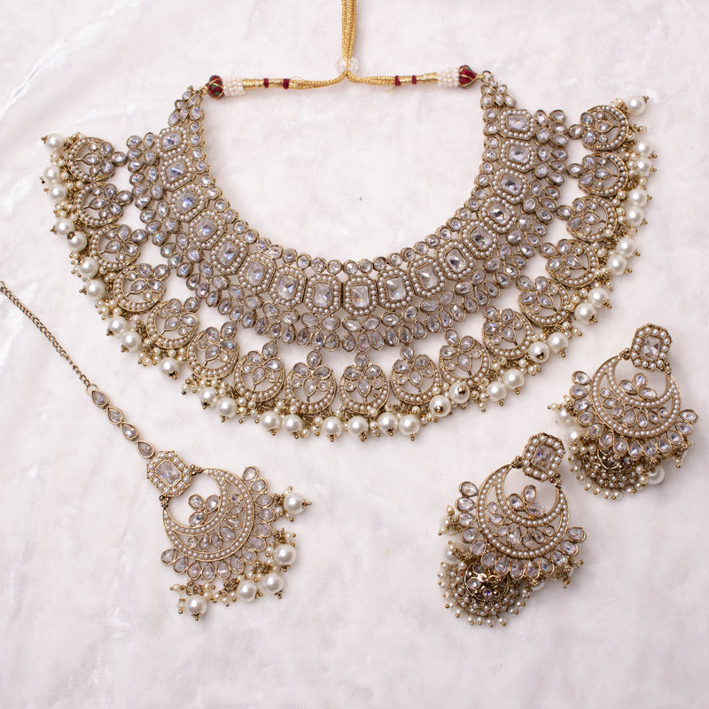 Dina Bridal Necklace set - Clear
