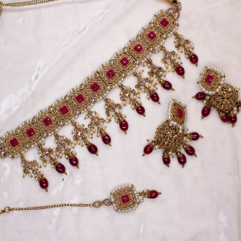 Renu Choker Set -  Dark Ruby