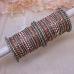 Bridal Bangle stack - Warm Taupe/Silver