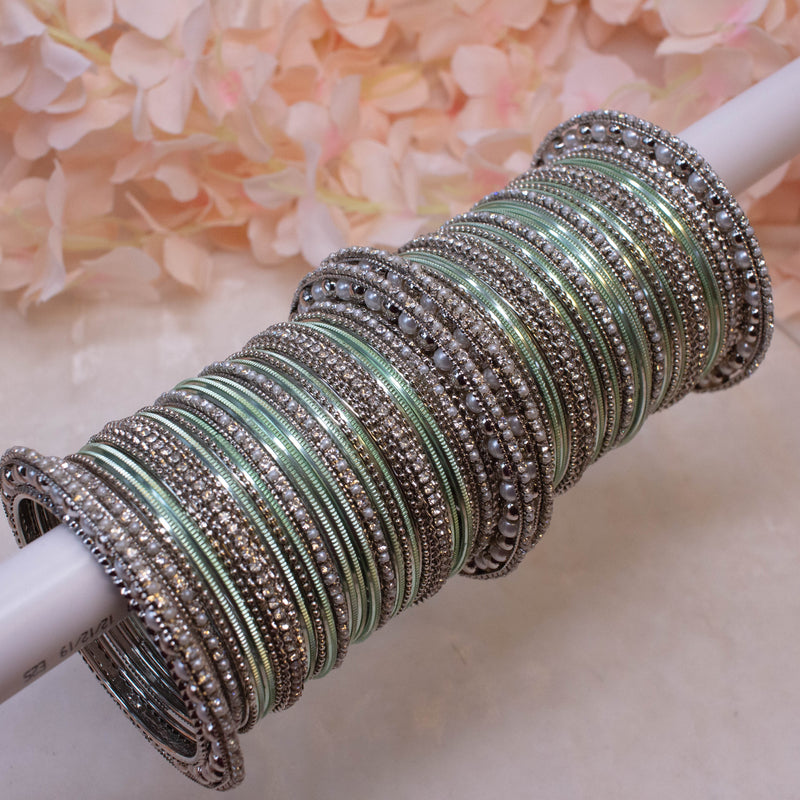 Bridal Bangle stack - Mint
