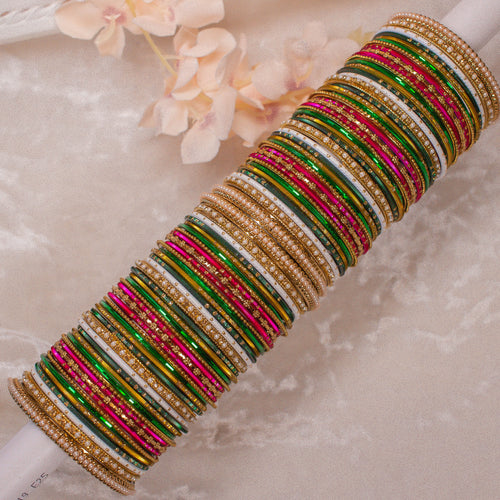 Multicolour Bangle stack - Pink/Green/White