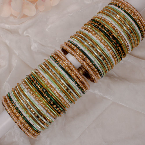 Multicolour Bangle stack - Mint/Green/White