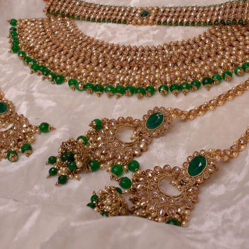 Green Bridal Double necklace set