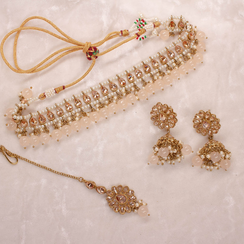 Small Antique Choker Set - Peach