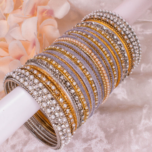 Grey Gold/Silver Bangle stack