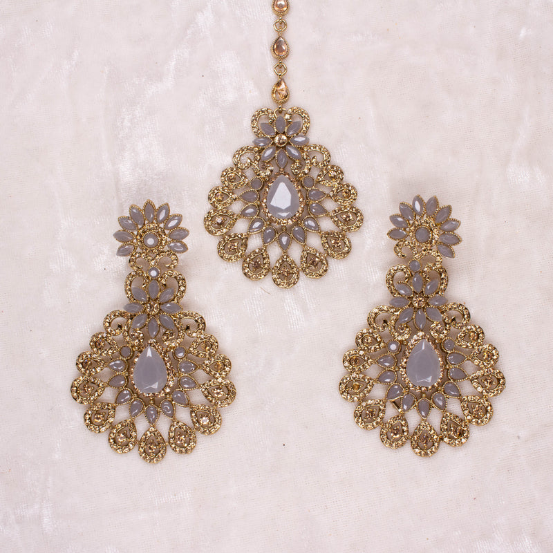 Hafsa Earrings and Tikka set - Grey