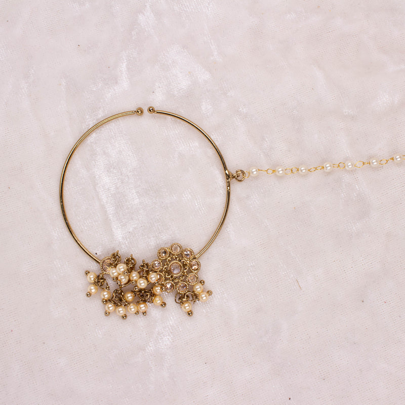 Large Antique Gold and Zircon Nose Ring - Slide type