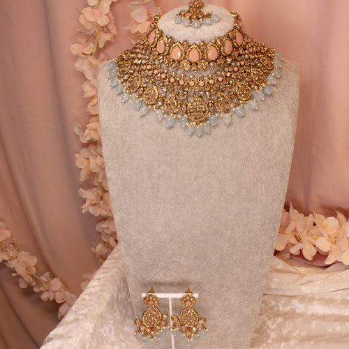 Tahia Bridal Double necklace set - Pastel Shades