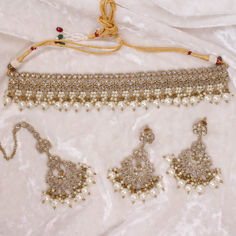 Malikah Choker Set - Clear crystals