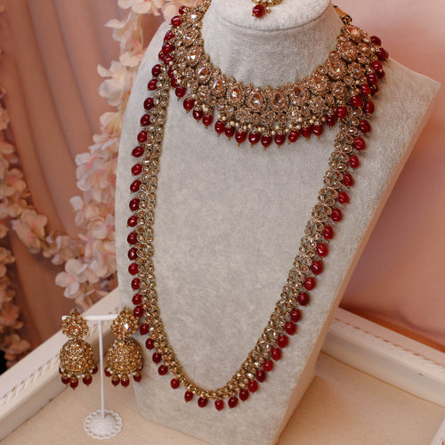 Swarna Bridal Necklace set - Maroon