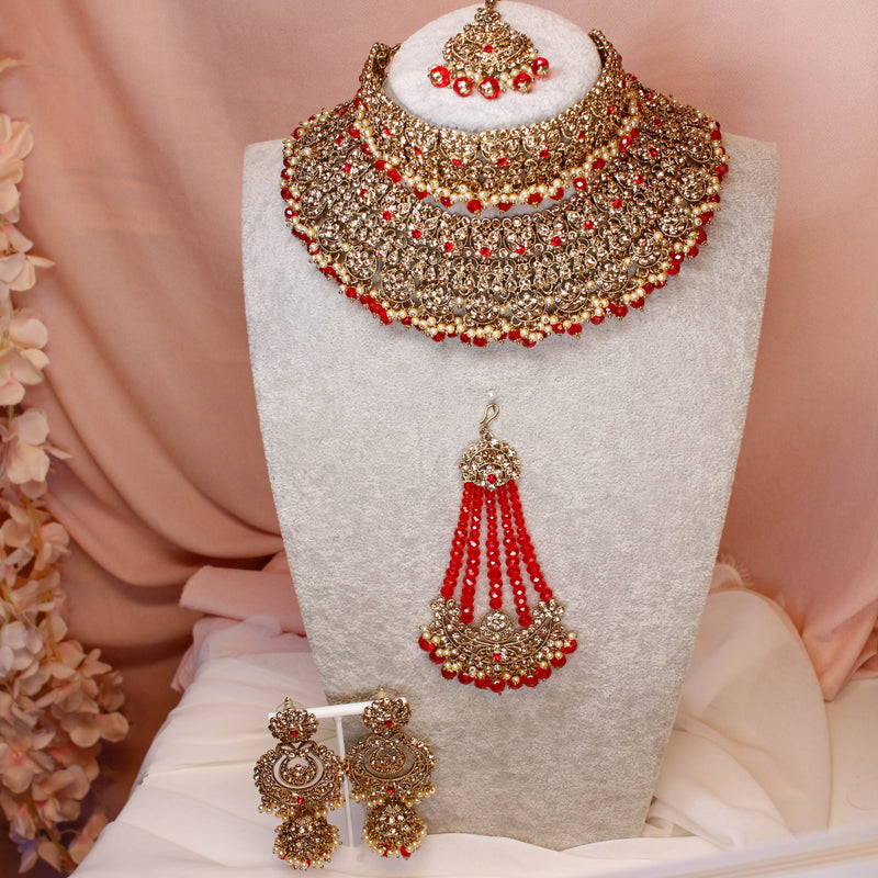 Deandra Bridal Double necklace set - Red