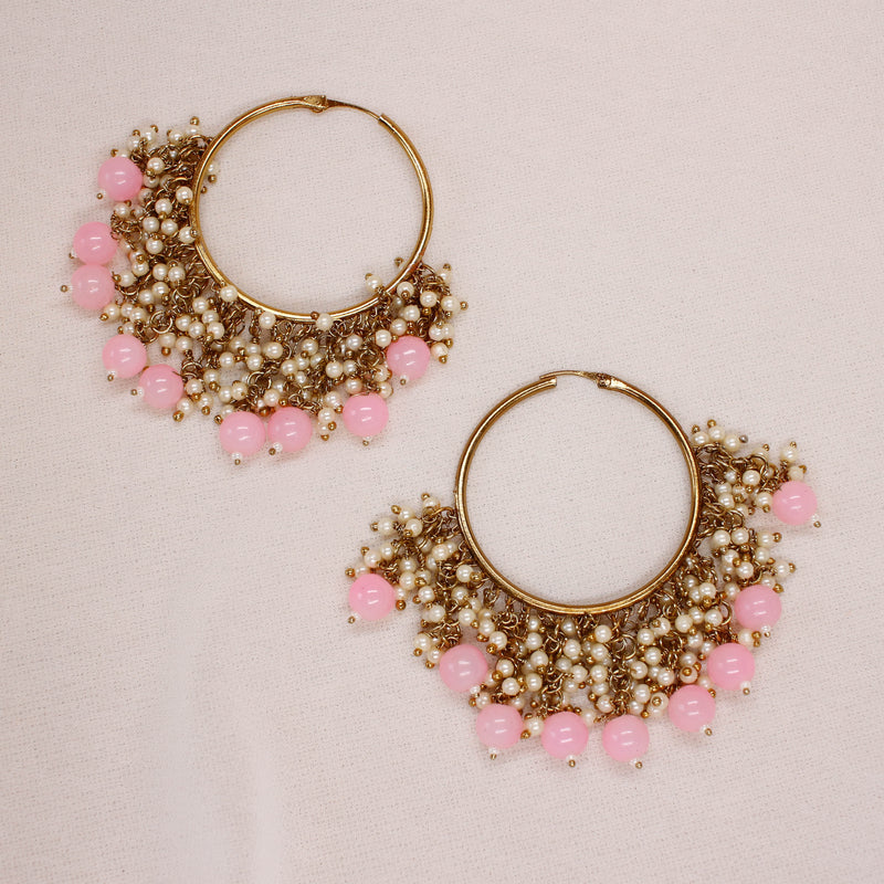 Bineesh Pink Drop Hoops