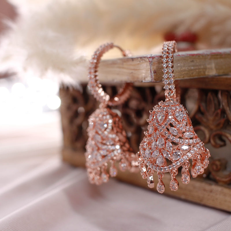 Deena Jhumka Earrings - Rose Gold