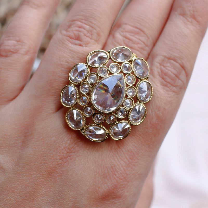 Clear Zircon Crystal ring
