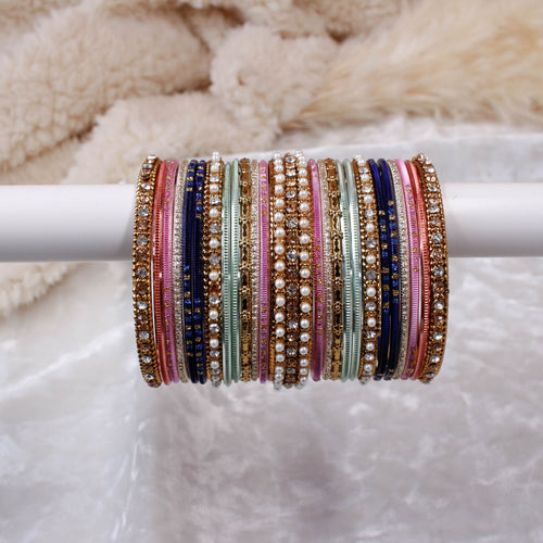 Navy, Pink and Mint Bangle stack
