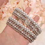Thick Antique Silver and Pearl Anklets