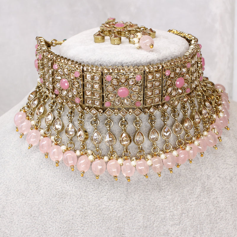 Coushal Antique Gold Choker Set - Pink