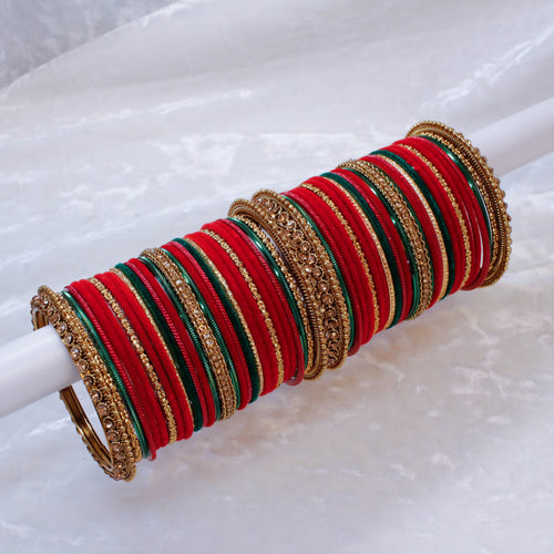 Red Velvet Bangle Set