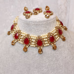Usbah Choker Set - Dark Ruby