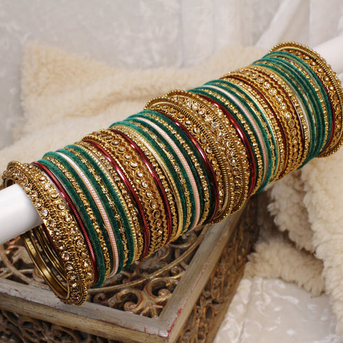Green Velvet Bangle Set