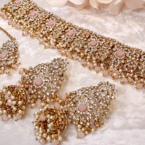 Alicia Faux Crystal Choker Set - Light Pink