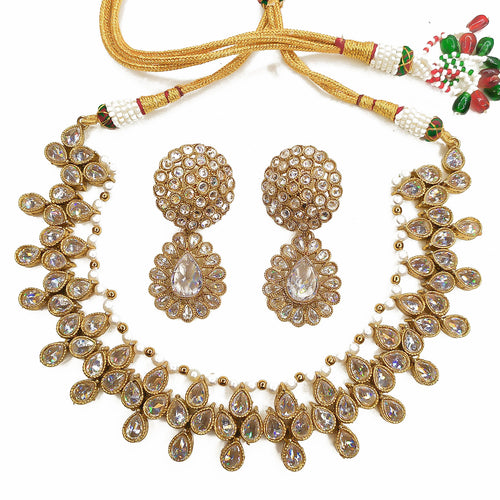 Amara Antique Necklace set - Clear crystal