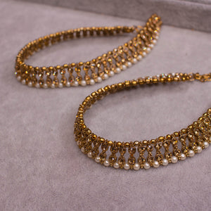 Antique Gold and Pearl Anklets