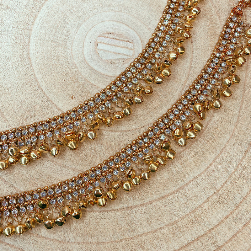 Clear Crystal Noisey Bell Anklets