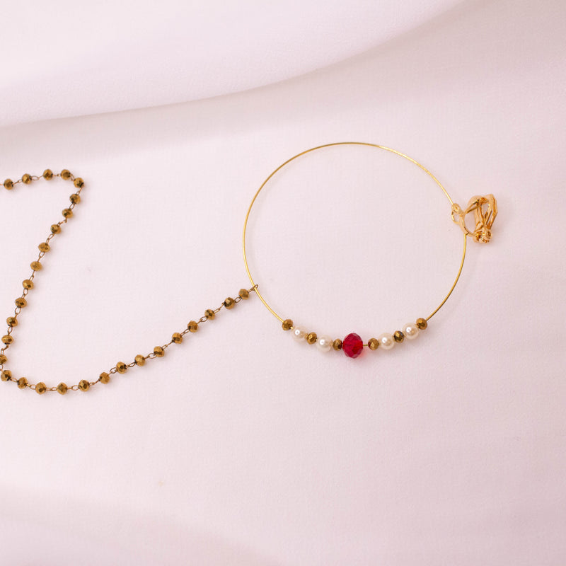 Red and Gold Bead Nose ring - Clip on