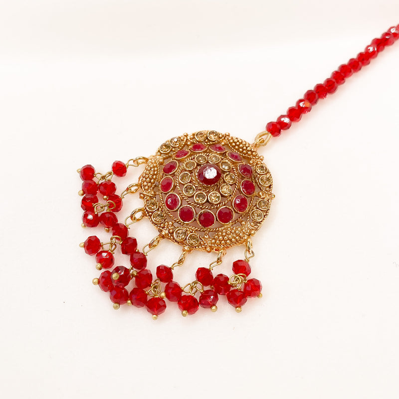 Gold Tikka - Red Beads