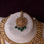Dark Green and  Antique Gold Bridal Jewellery Set