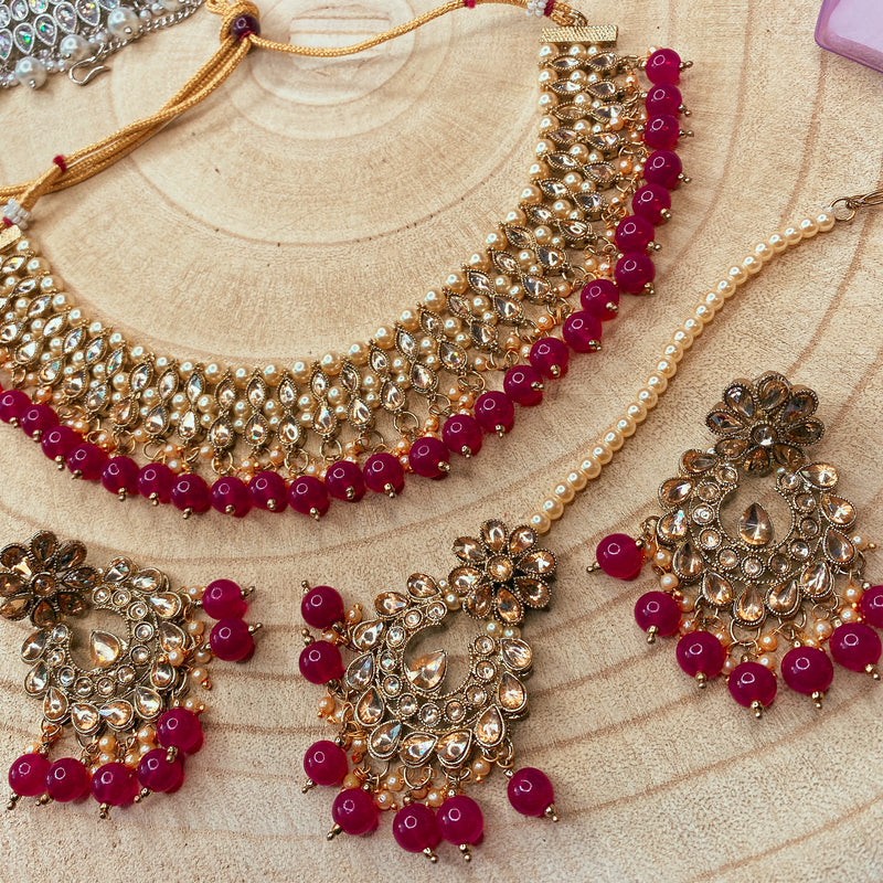 Rita Faux Kundan Set - Ruby