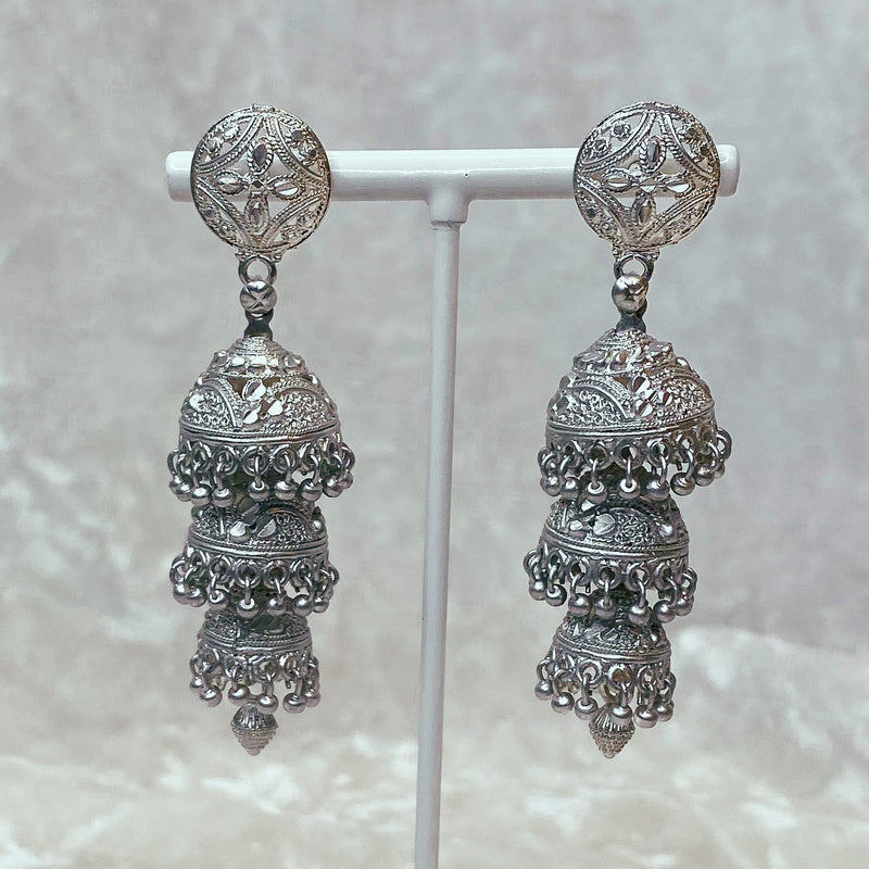 Jusna Jhumka Earrings - Dark Silver