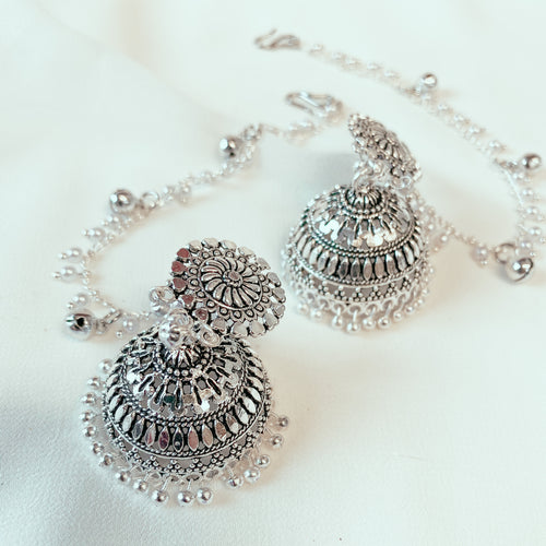 Leena Chained Jhumka Earrings - Silver