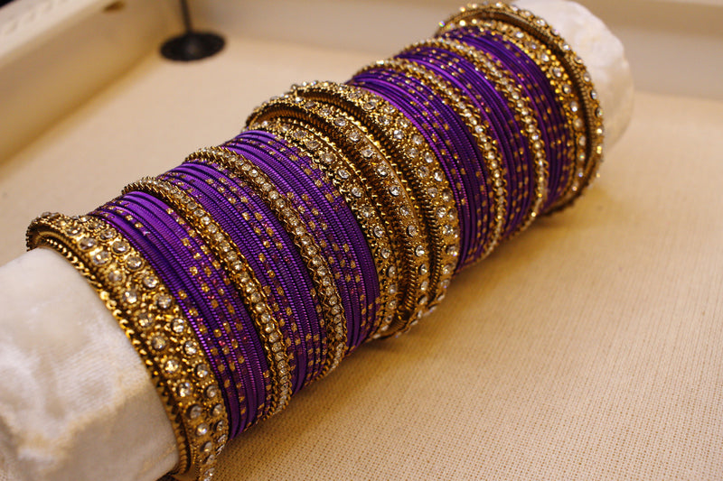 Crystal Bangle stack - Purple
