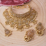 Alicia Bridal Double necklace set - Clear/Golden