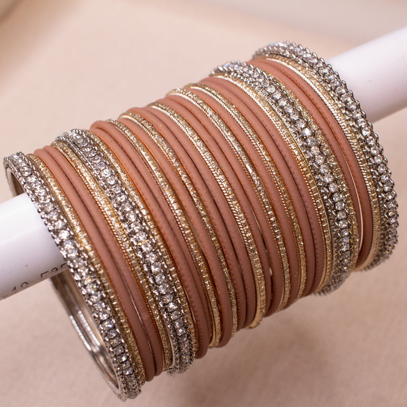 Silver and Warm Taupe Bangle stack