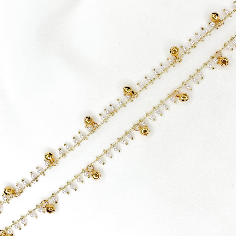 Manal Bell Charm Anklets - Gold