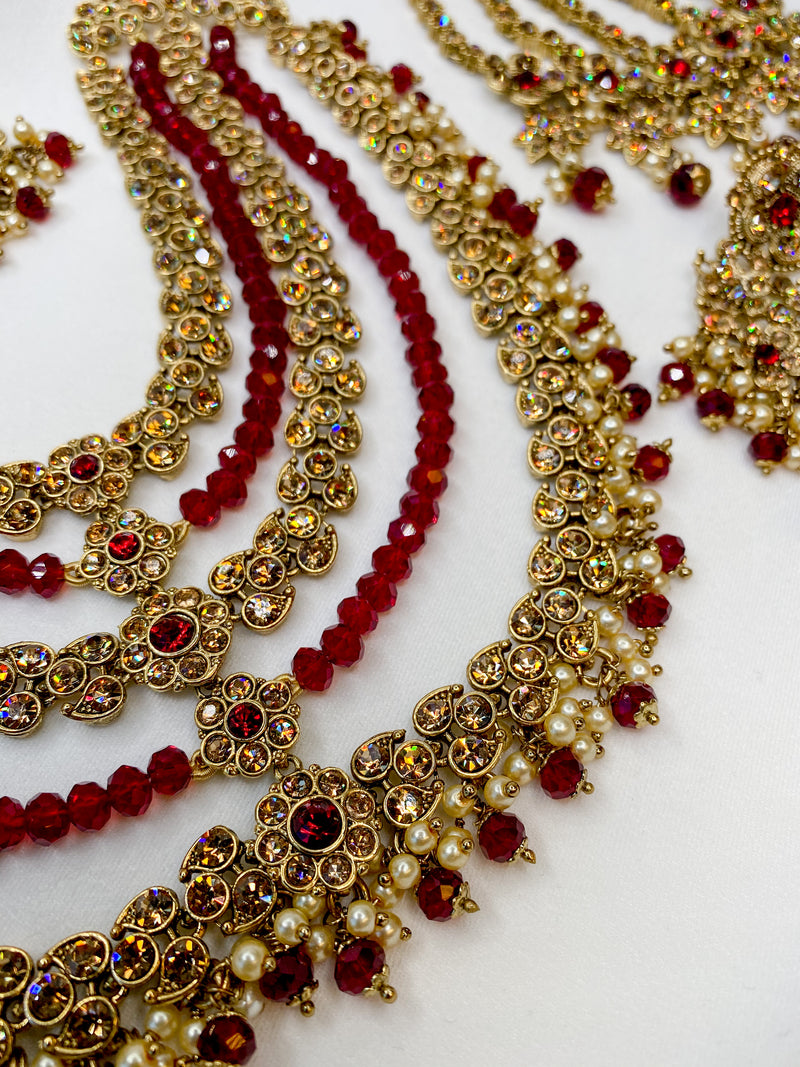 Customised Sameem Bridal Necklace set - Maroon