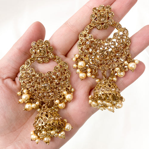 Large Golden Jhumka Earrings