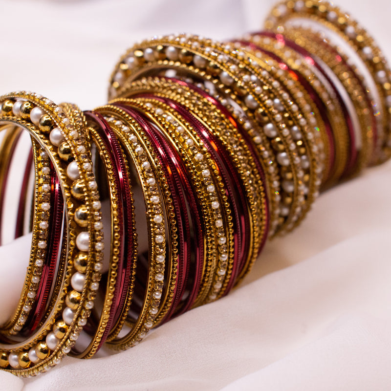 Bridal Bangle stack - Maroon