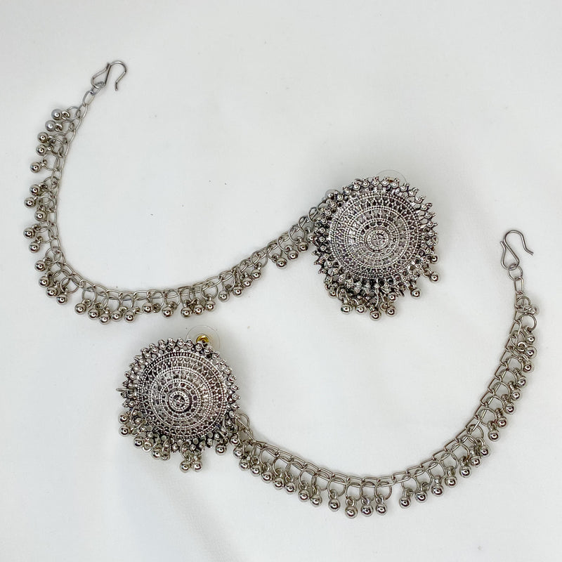 Ramana Chained Round Earring Tops - Silver