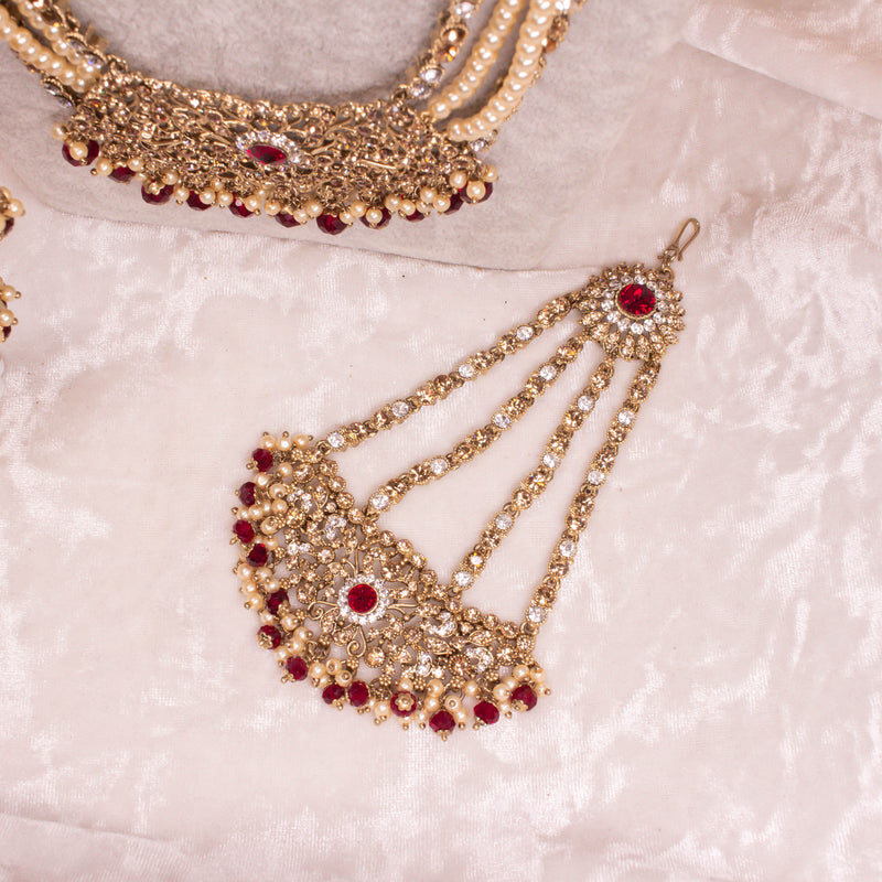 Alicia Bridal Necklace Set - Maroon