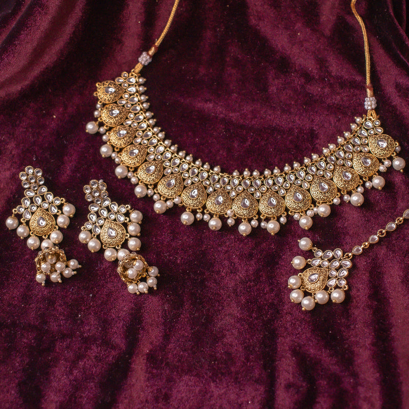 Asmita Faux Kundan Set - White
