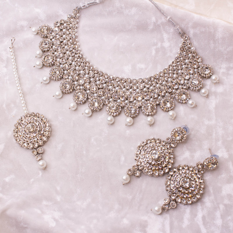 Crystal Necklace Set - Silver