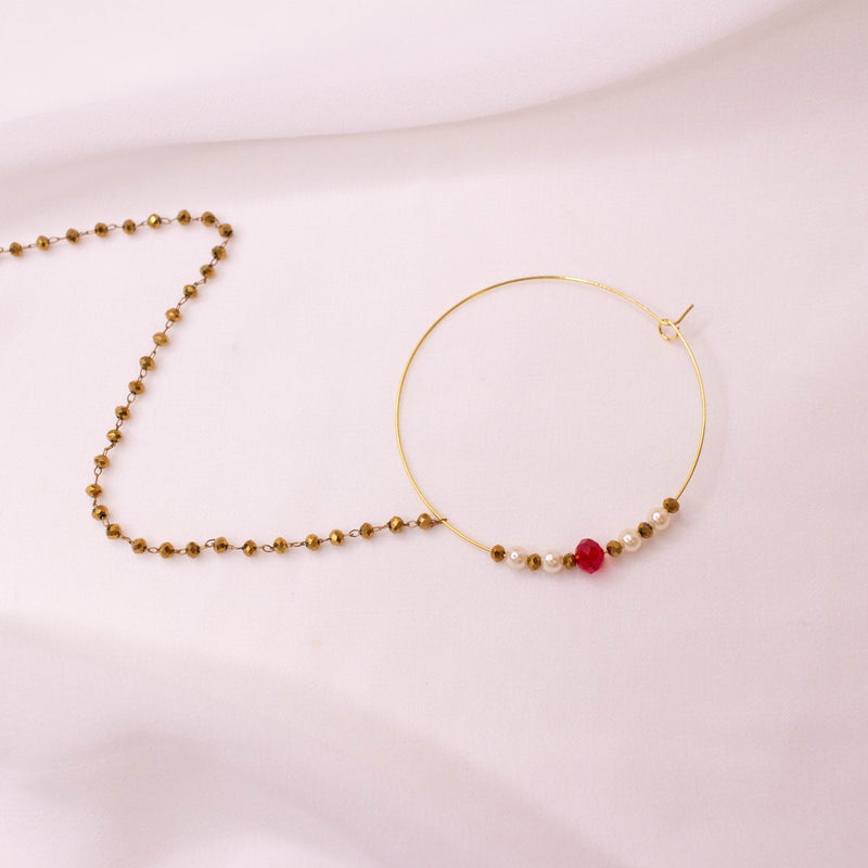 Red and Gold Bead Nose ring - Pierced