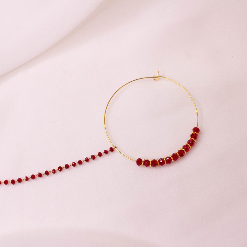 Maroon Bead Nose ring - Pierced