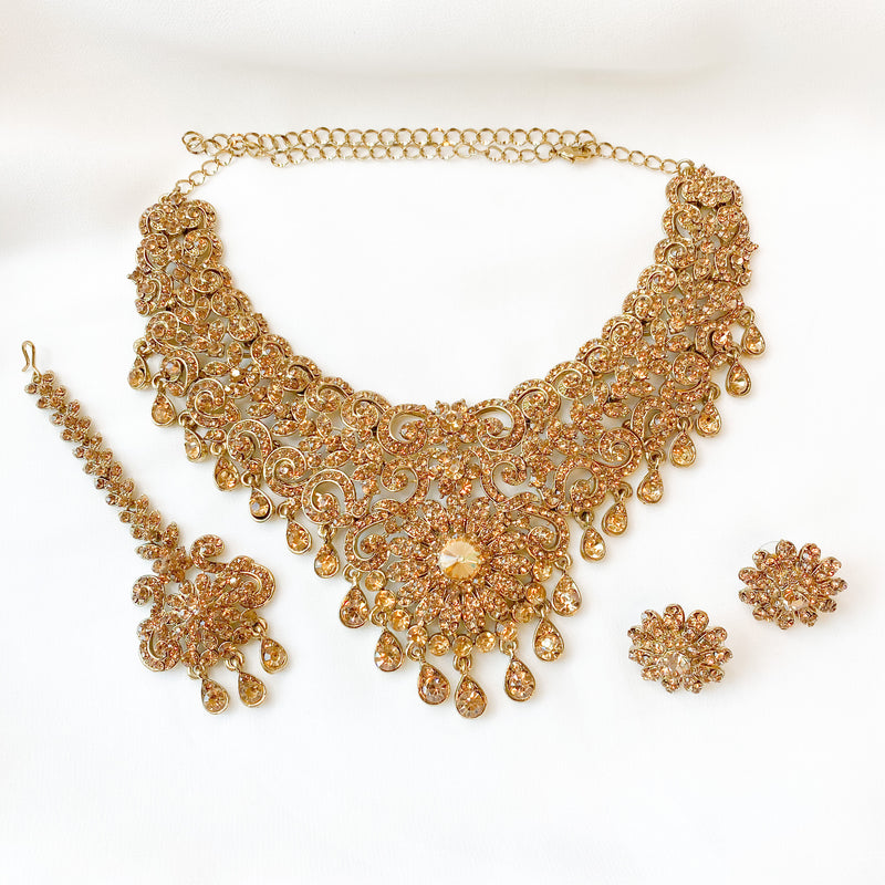 Reza Antique Gold Necklace set